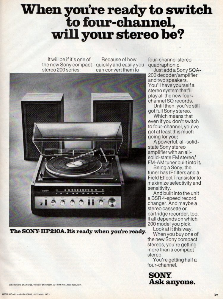 Sony HP210A stereo from 1972