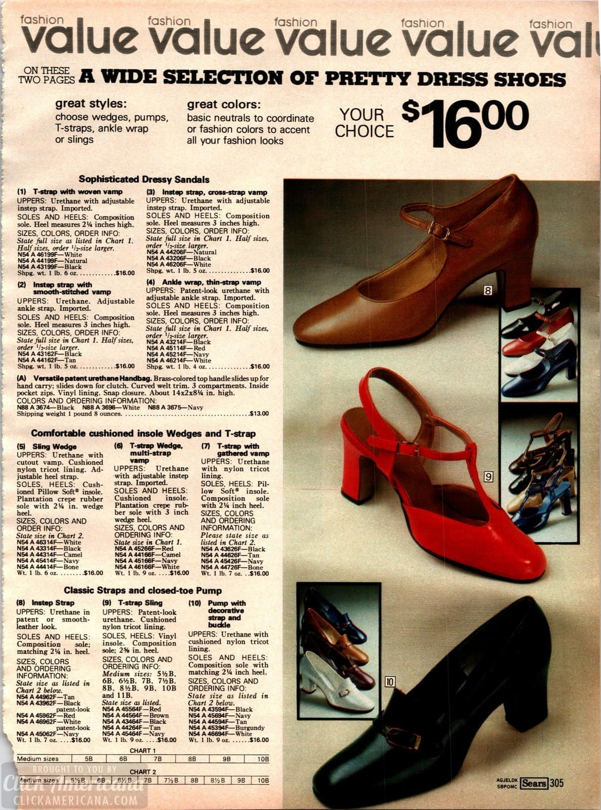Sophisticated dressy sandals from 1979 - wedges and T-straps plus pumps and heels