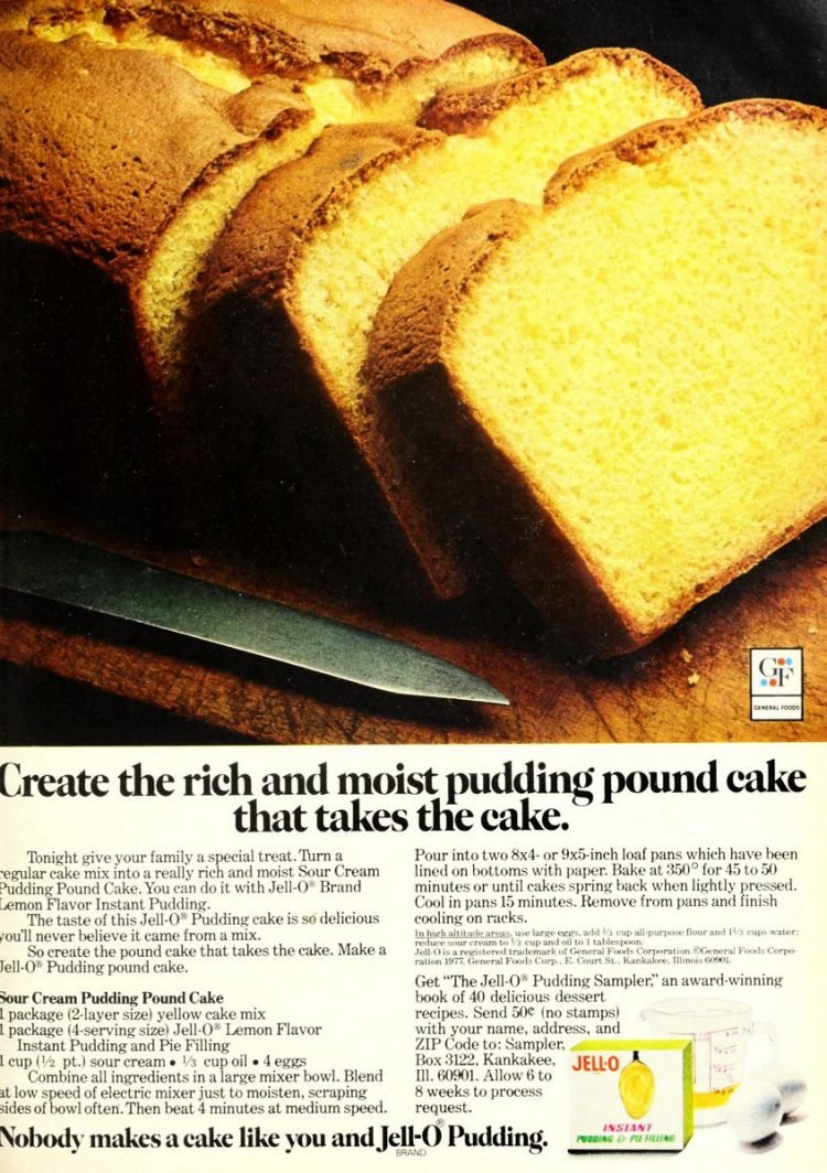 Sour cream pudding pound cake Retro recipe from 1977