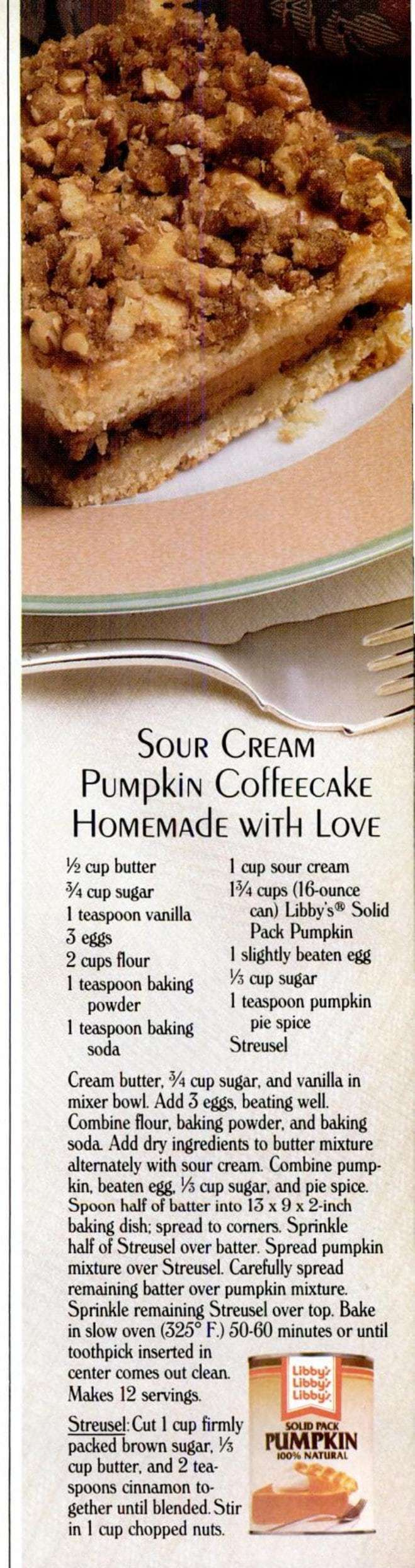 Sour Cream Pumpkin Coffee Cake Pumpkin Streusel Swirl Coffee Cake Retro Recipes Click Americana