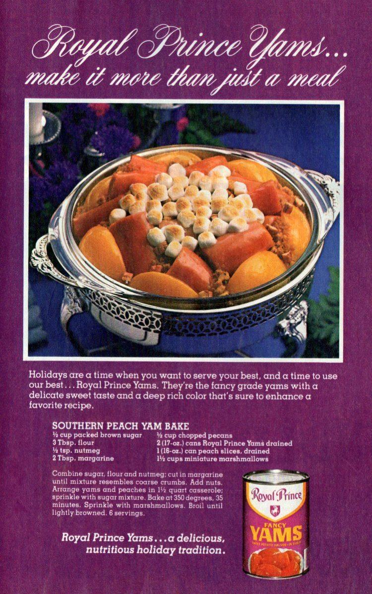 Southern peach-yam bake recipe (1979)