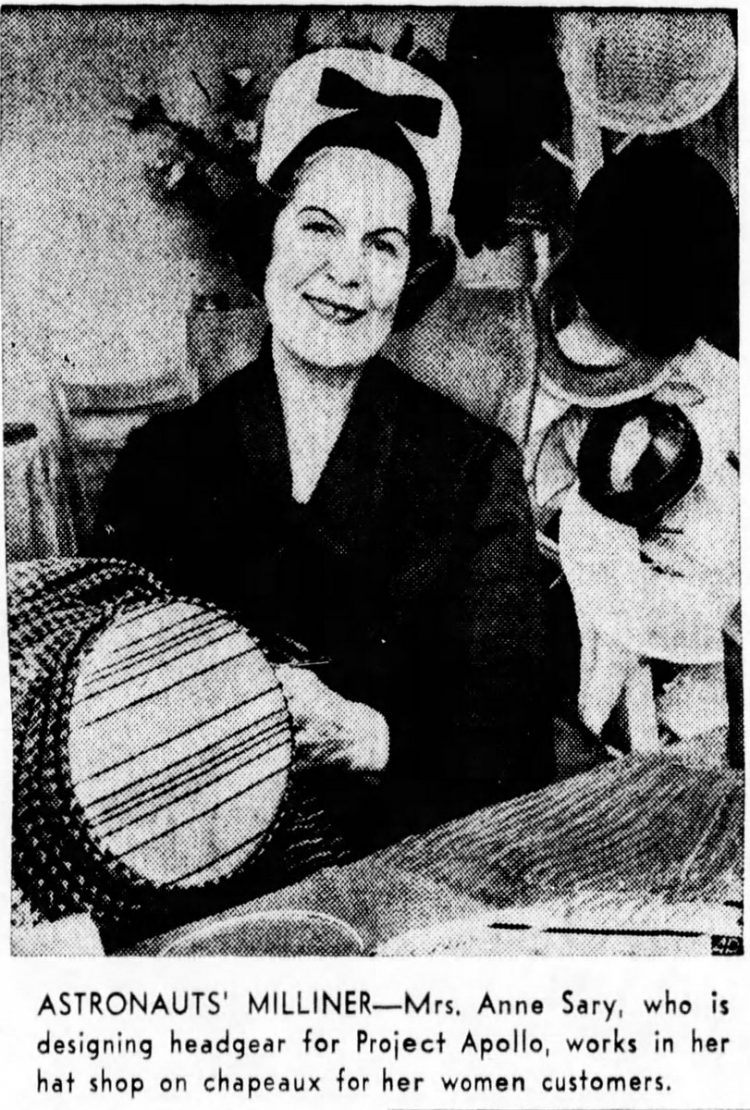 Space hats being made by lady milliner for trip to the moon 1965