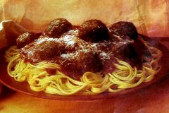 Spaghetti Romano with meatballs retro recipe