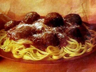 Spaghetti Romano with meatballs retro recipe