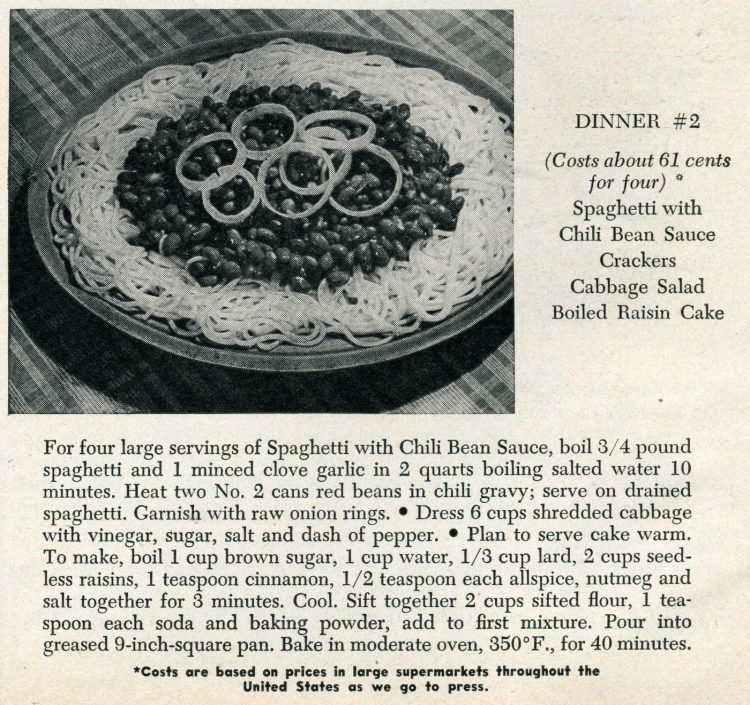 Spaghetti with chili bean sauce vintage recipe from 1950