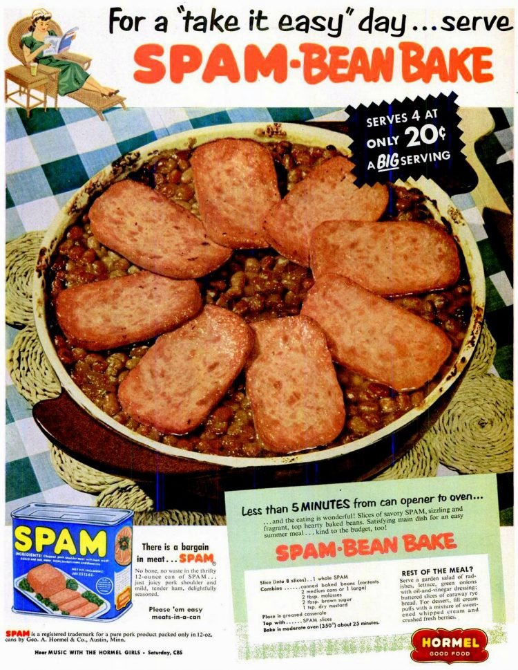 Spam Bean Bake recipe from May 26, 1952