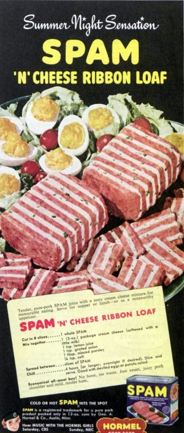 Spam n cheese ribbon loaf recipe from 1951