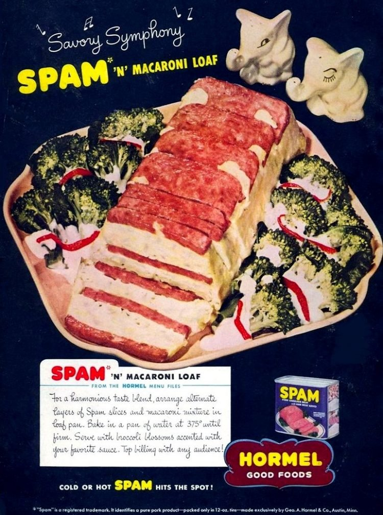 Spam n macaroni loaf recipe - 1940s