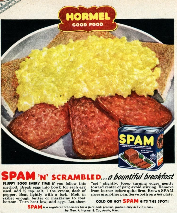 Spam n scrambled eggs breakfast idea - 1950