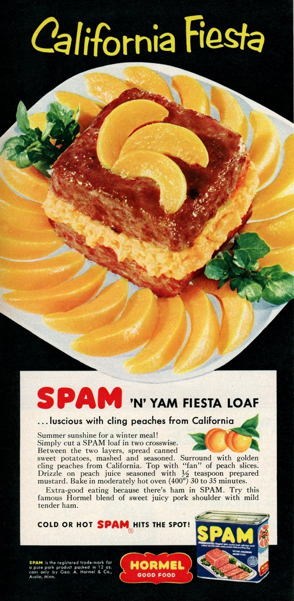 Spam n yam fiesta loaf recipe from 1955