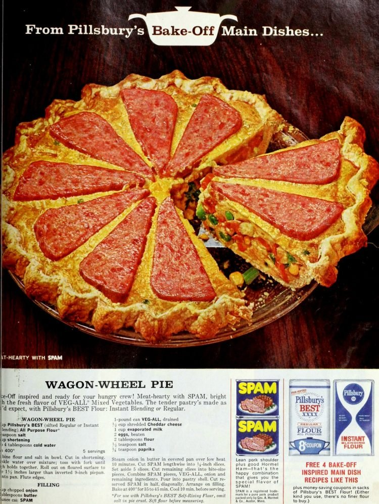 Spam wagon wheel pie dinner recipe from 1964