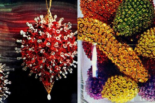 Sparking sequined crafts Jeweled fruit & Christmas ornaments (1972)