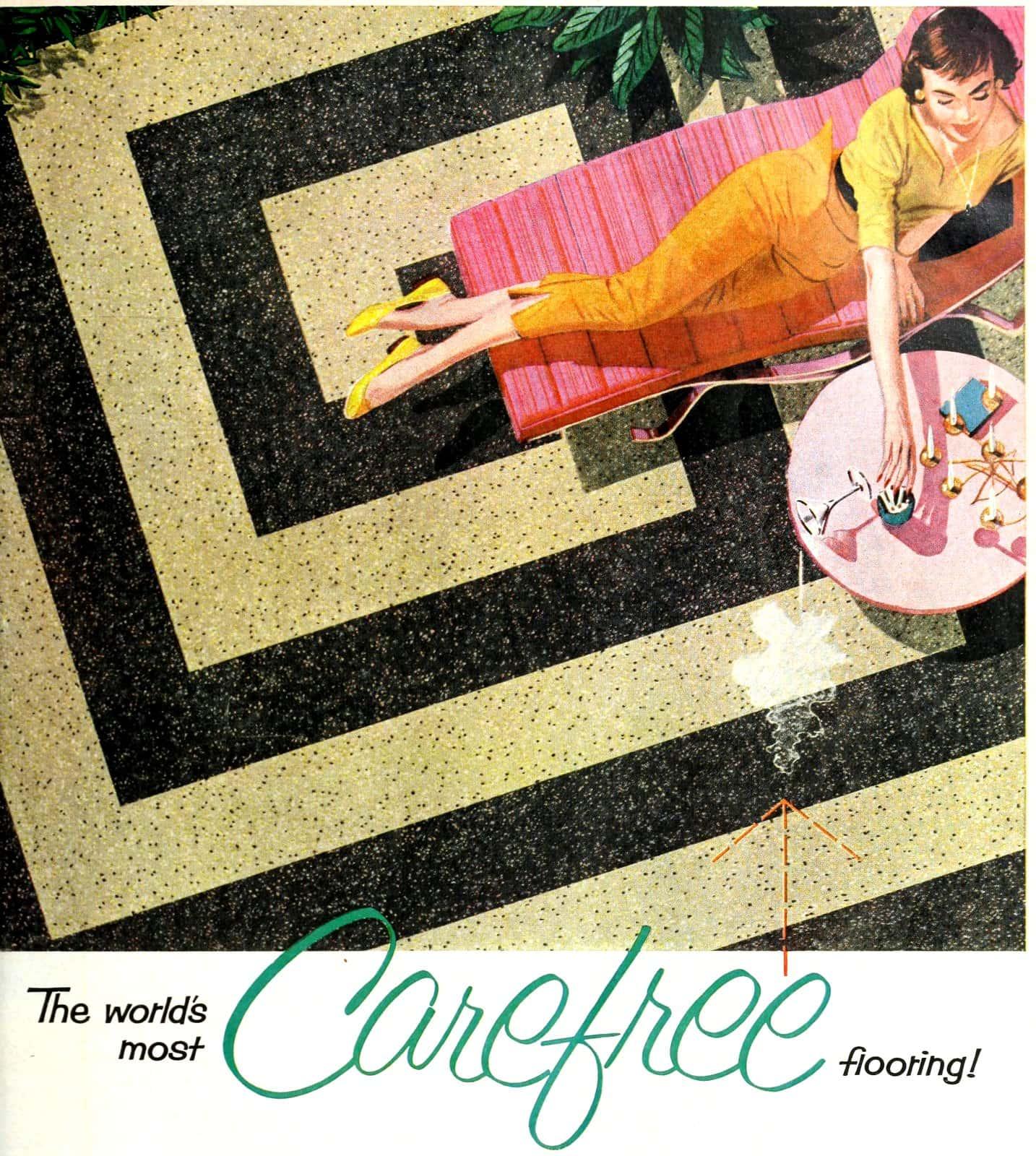 Spiraling square vintage vinyl flooring pattern (1957)