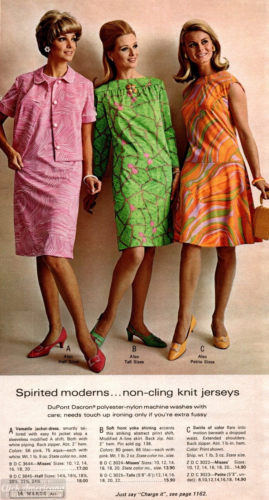 Spirited moderns in patterned non-cling knit jersey dresses