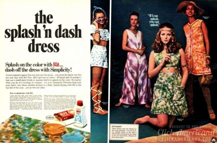 Splash and dash tie dye dress fashion 1970