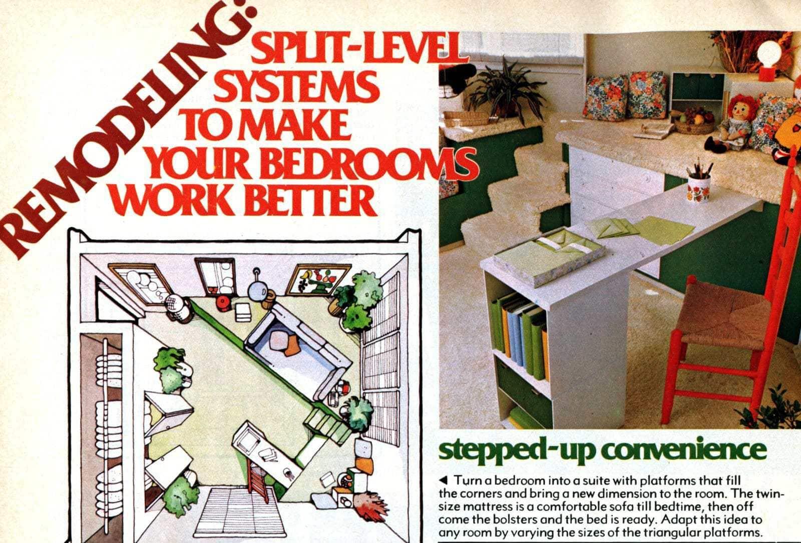 Split-level bedrooms - Vintage 70s decor (2)
