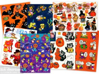 Spooky stickers 16 vintage Halloween sticker sheets from the seventies and eighties