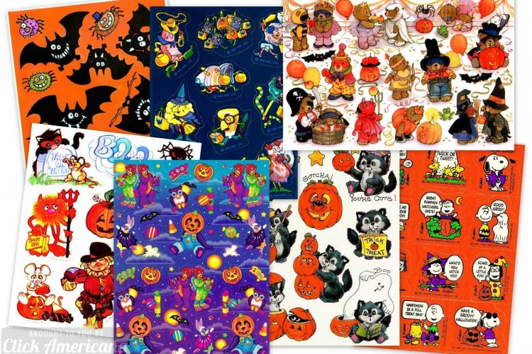 Spooky stickers 16 vintage Halloween sticker sheets from