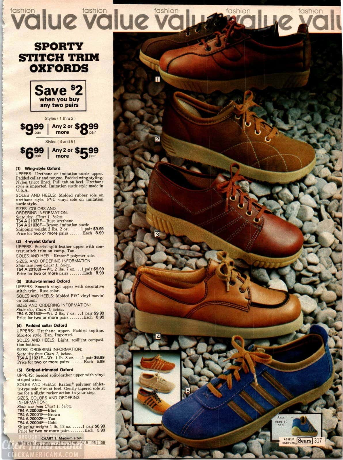 Sporty stitch trim Oxford athletic shoes from 1979