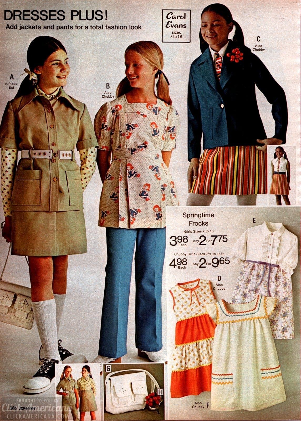 Springtime frocks plus dresses and jackets or pants for girls from 1973