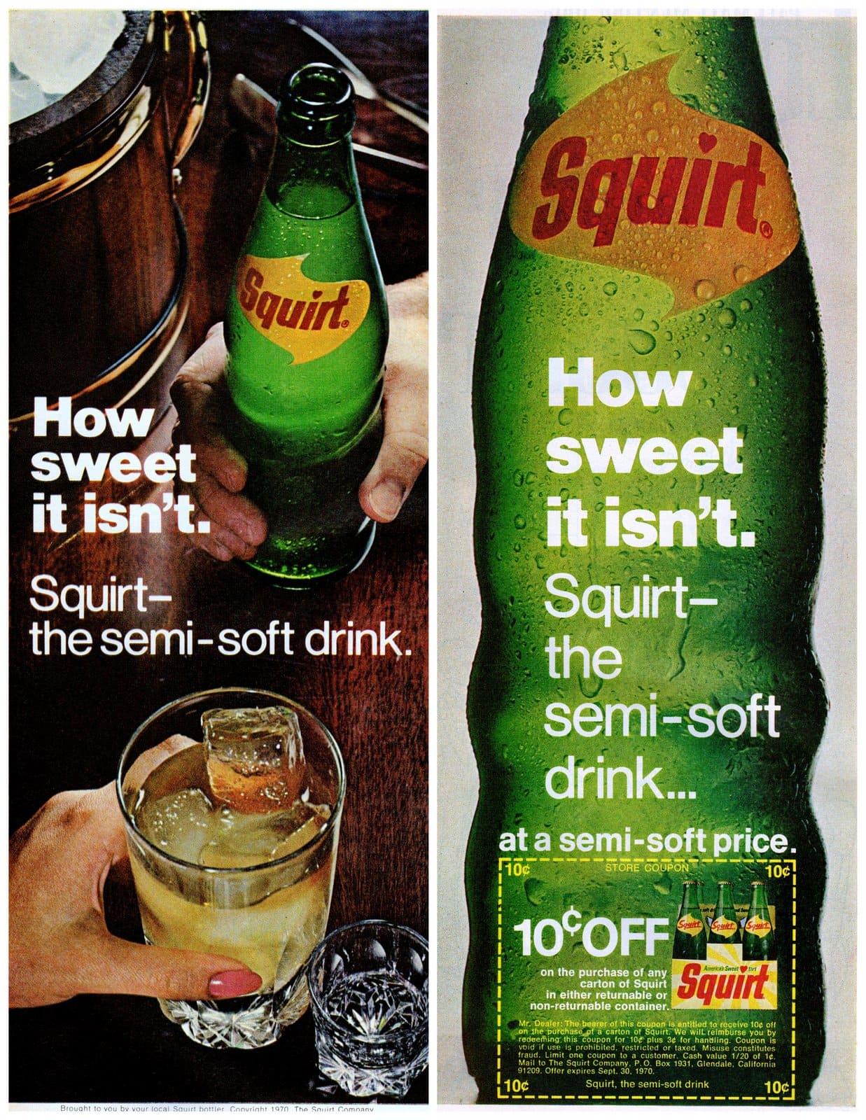Squirt semi-soft drink - Vintage soda bottles (1970)