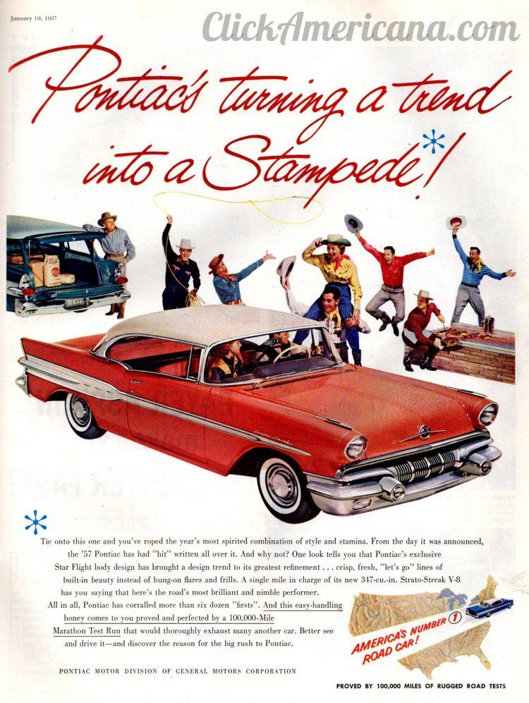 Stampede of Pontiac cars