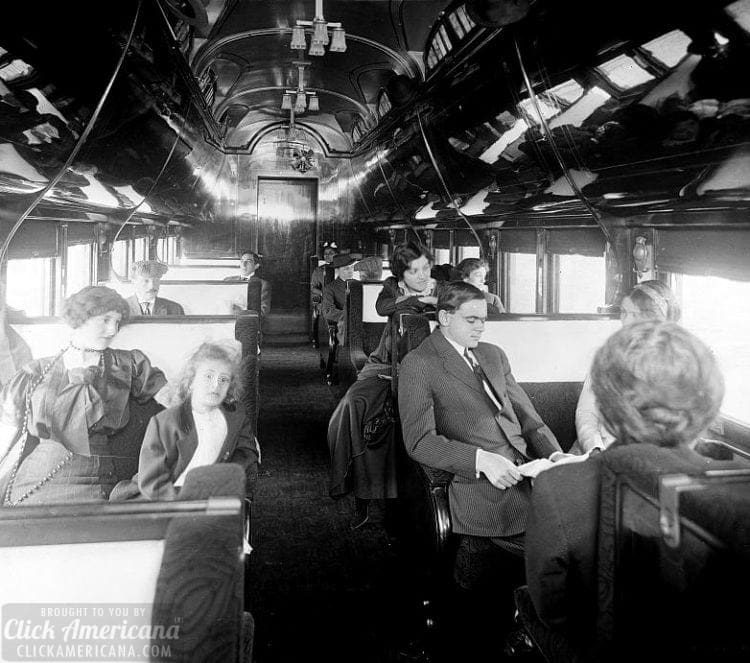 Standard pullman car on a deluxe overland limited train - Vintage train cars