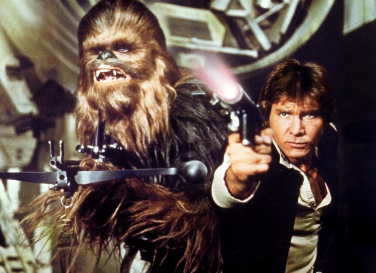 Star Wars movie still - Han Solo and Chewy