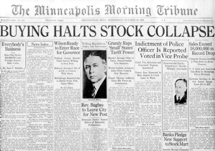 The Great Depression Newspaper headlines from 1929 - Buying Halts Stock Collapse