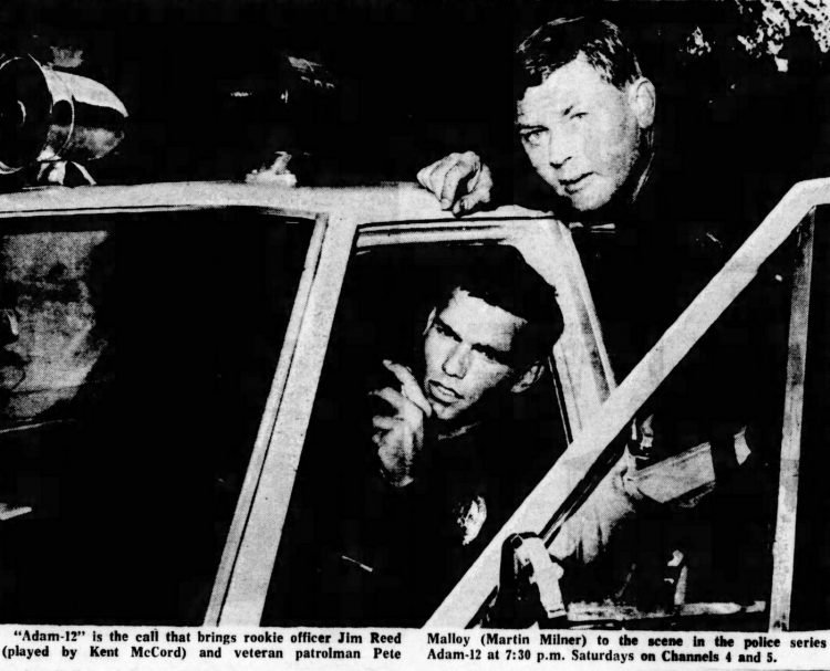 Stars of Adam 12 on set - 1969