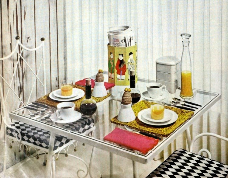 Starting with basic white for a breakfast table 1958