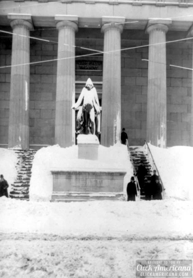 Statue of George Washington on Wall Street, covered in snow by the Great Blizzard of 1888