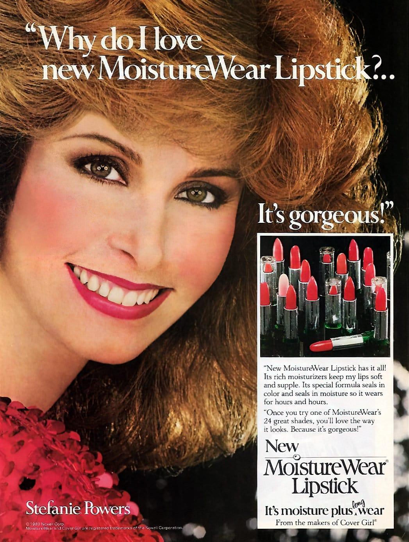 Stefanie Powers for Cover Girl MoistureWear lipstick (1983)
