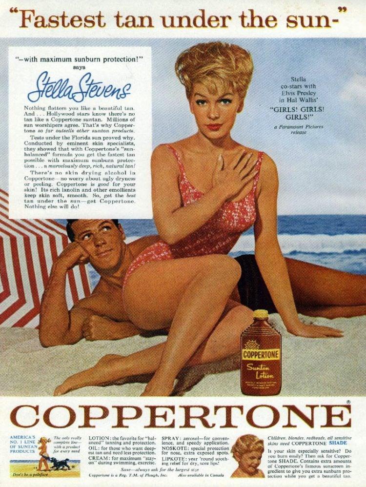 Stella Stevens of Girls Girls Girls for Coppertone tans (1962)