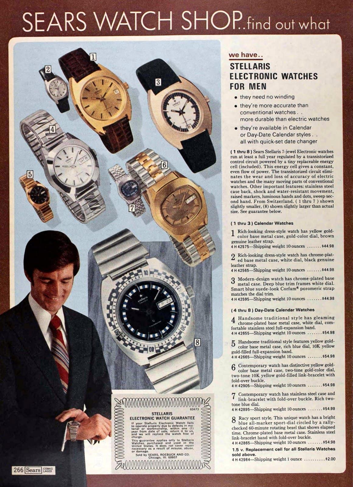 Stellaris electronic watches for men (1974)