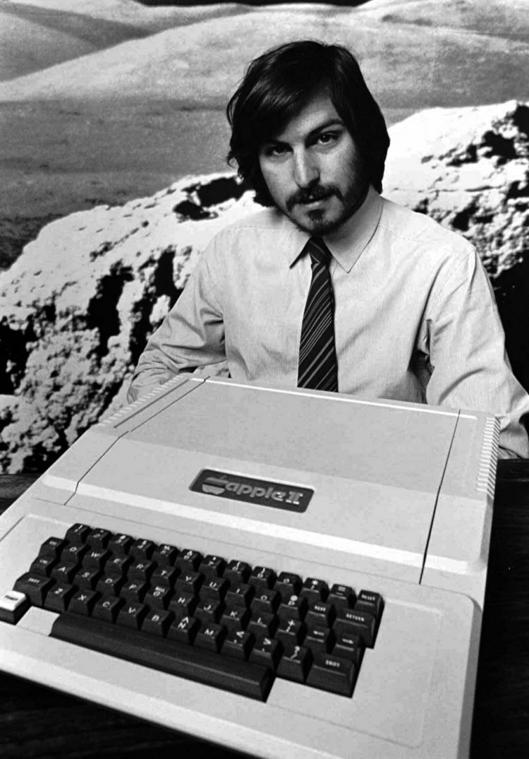 Steve Jobs introducing the Apple II computer in 1977 in Cupertino, California