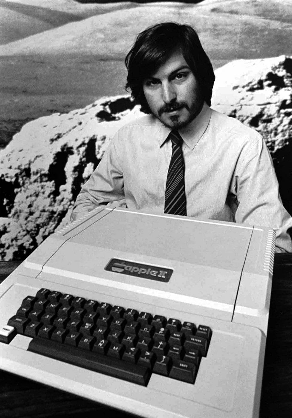Steve Jobs introducing the Apple II computer in 1977 in Cupertino, California
