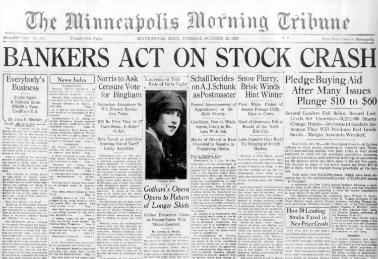 Great Depression Newspaper headlines from 1929 - Bankers Act on Stock Crash