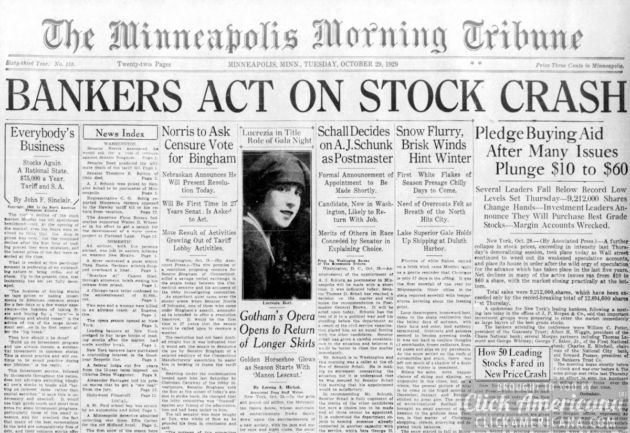 stock market crash of 1929 essay Stock market crash of october 29, 1929 the year is 1929 and you're living life to the fullest possible you are finally able to walk down the street in a fur jacket and diamond rings and hand 20$ bills to the bums of the city if you wanted to.
