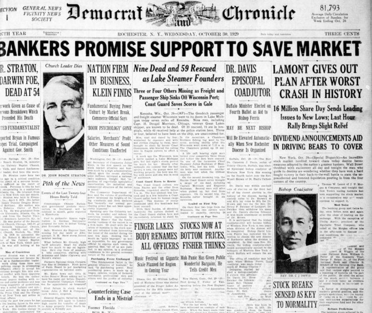 The Great Depression Newspaper headlines from 1929 - Bankers Promise Support to Save Market