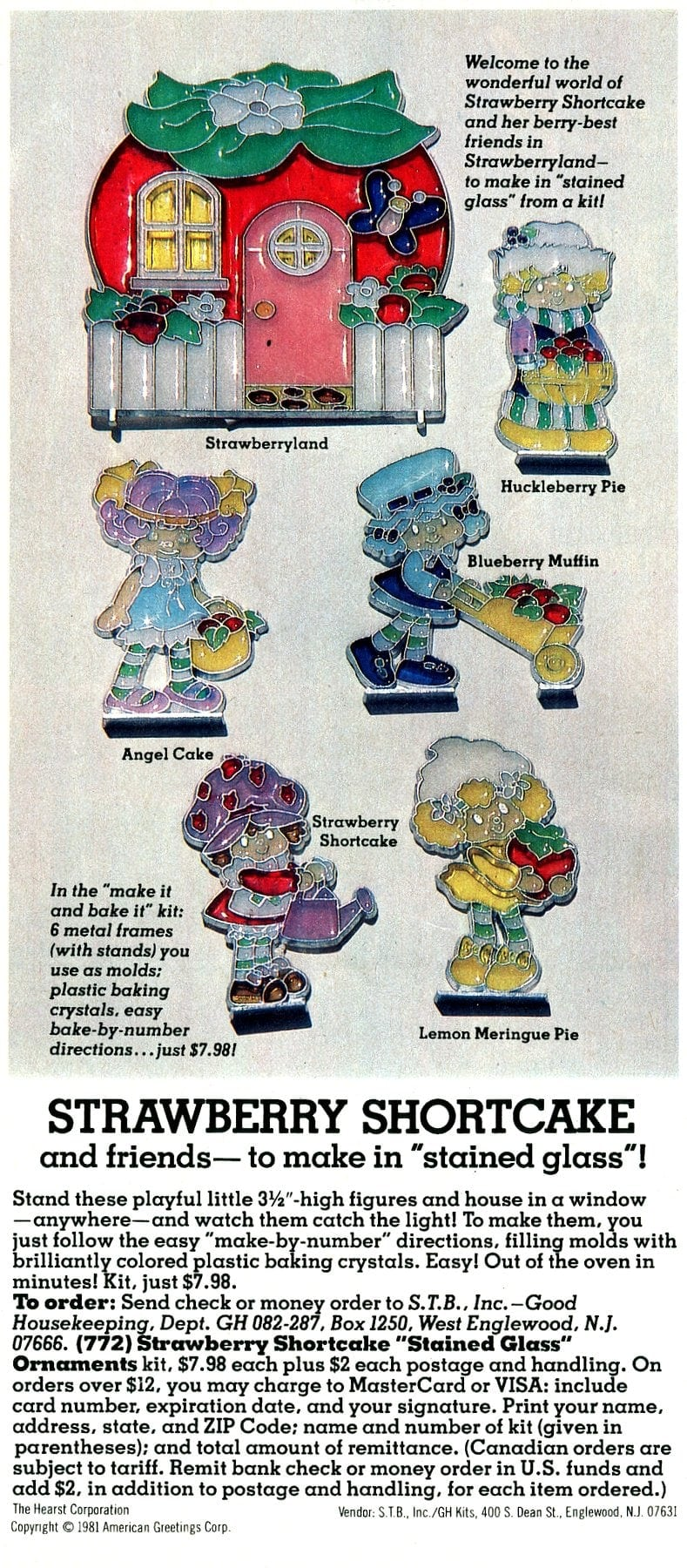 Strawberry Shortcake and friends - stained glass ornaments from 1982