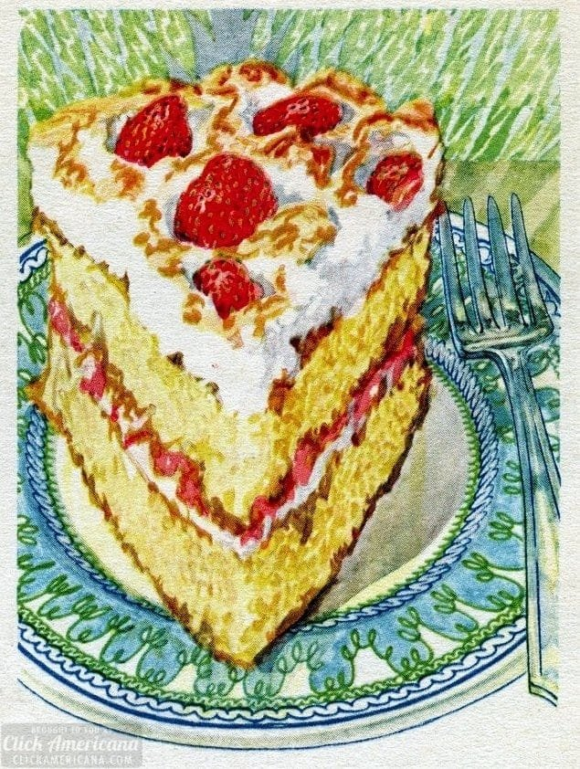 Strawberry meringue cake vintage recipe c1920