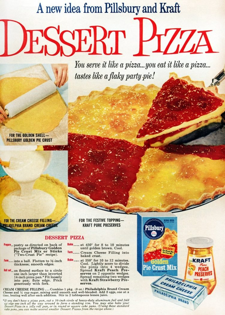 Strawberry-peach dessert pizza It's a flaky party pie 1959