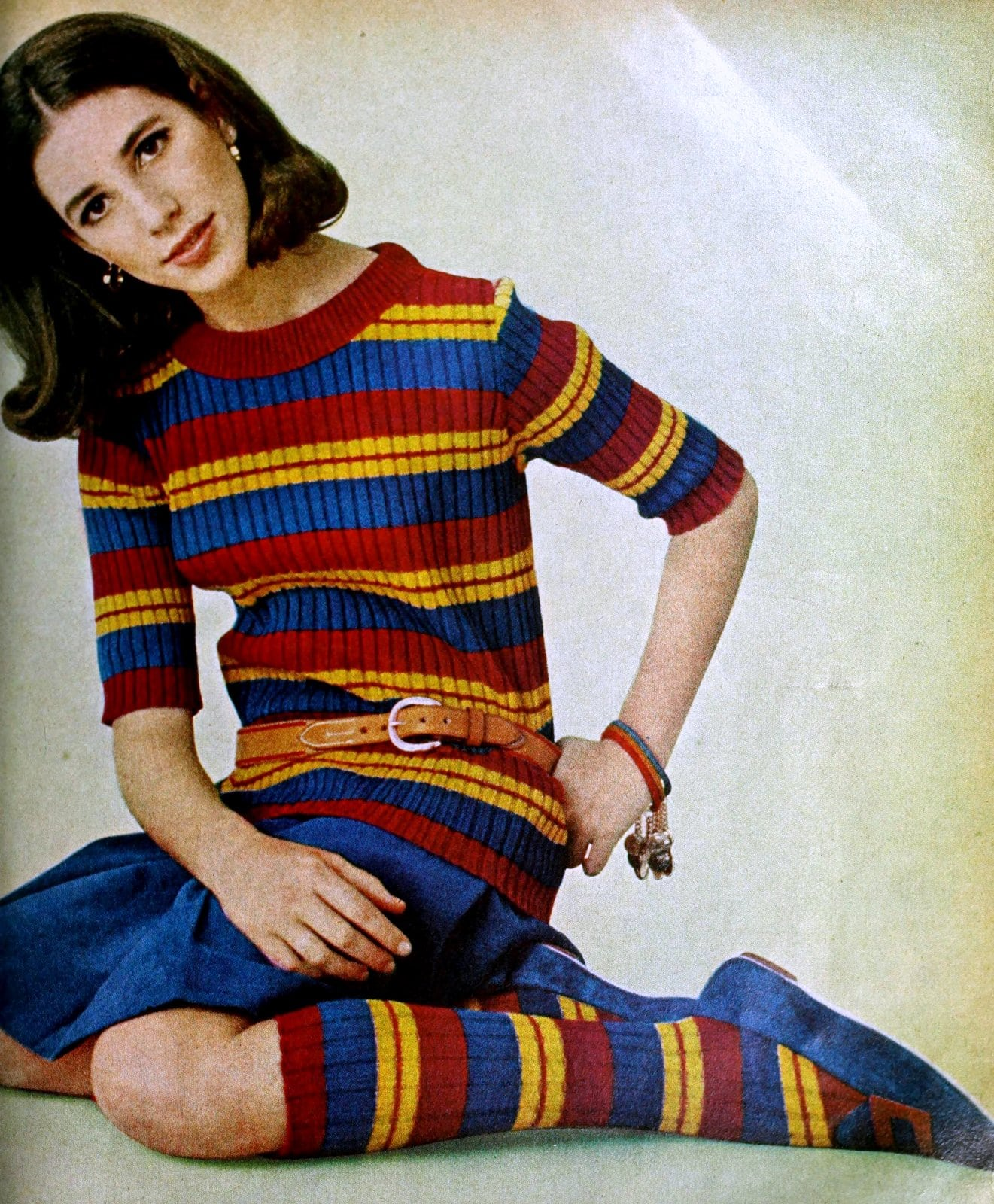Striped primary-color rib-knit sweater with matching socks (1965)