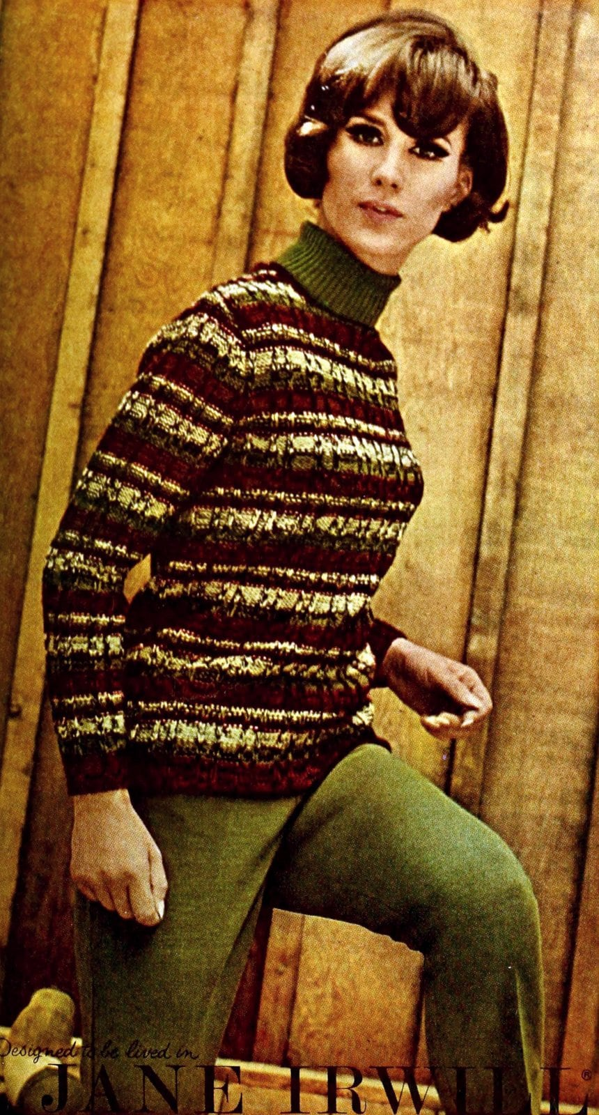 Striped sweater with turtleneck - Greens and browns (1965)