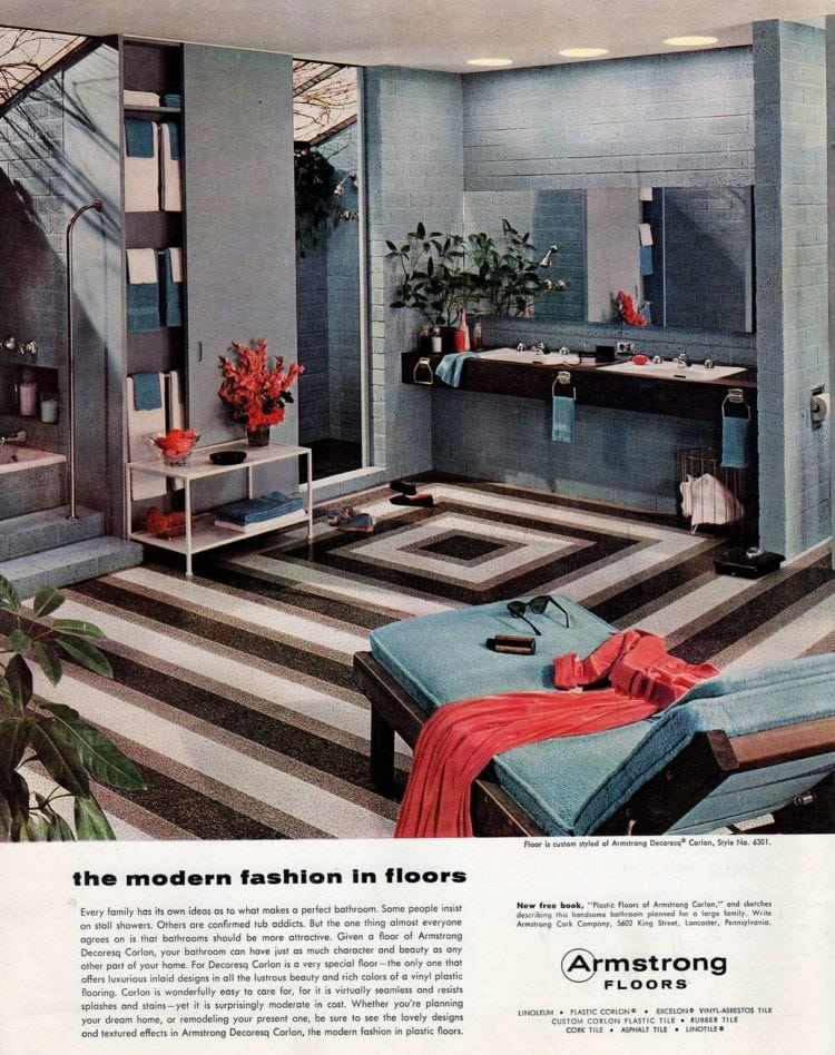 Striped vintage floor for the bathroom from 1956