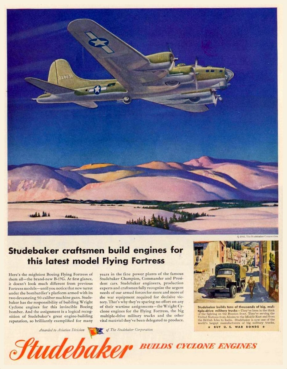 Studebaker engines for the Flying Fortress planes (1944)