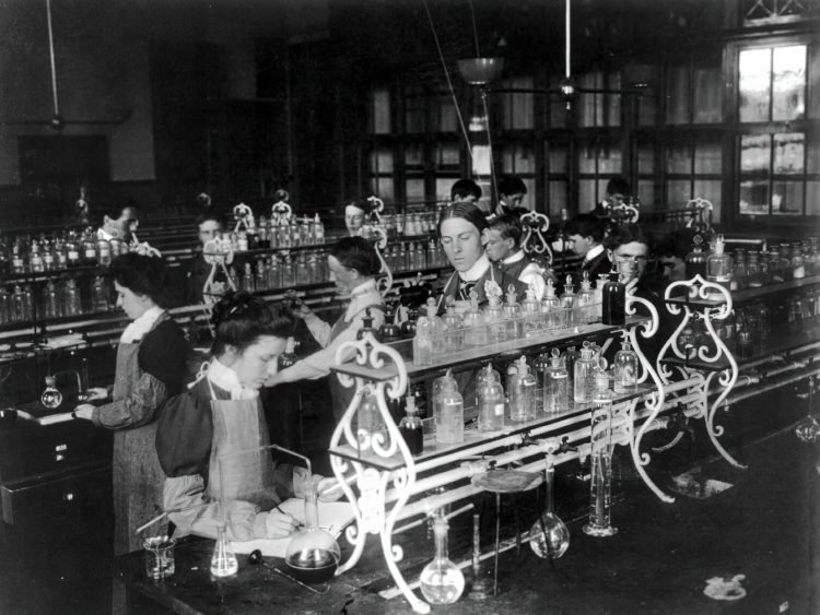 Students in a chemistry class conducting an experiment