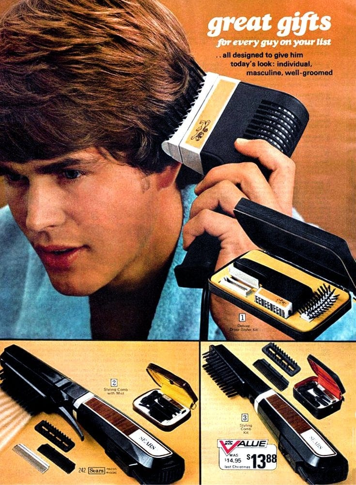 Styling dryers and hair grooming for guys from the seventies