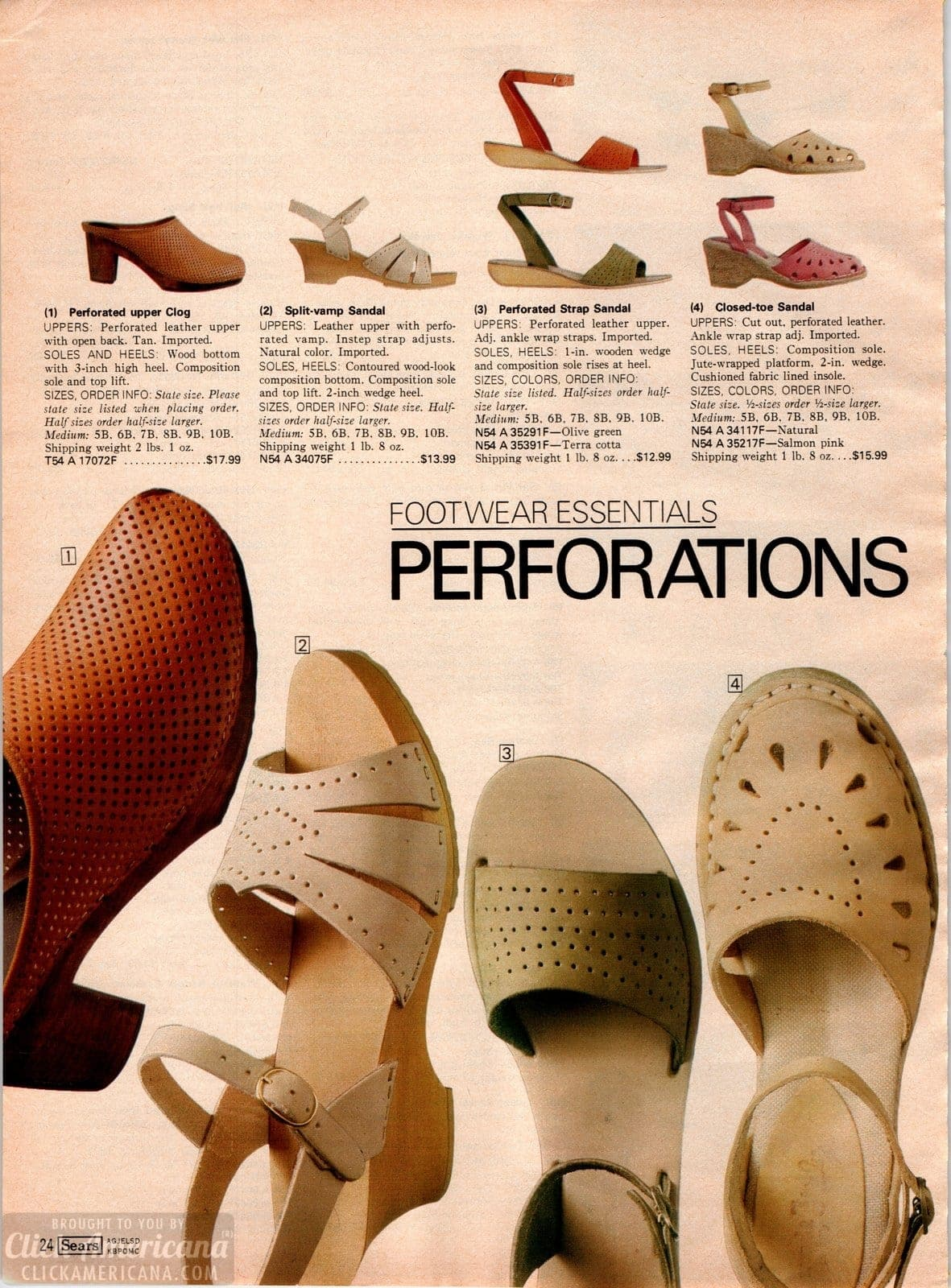 Stylish perforated shoes for women from the 70s - sandals and clogs